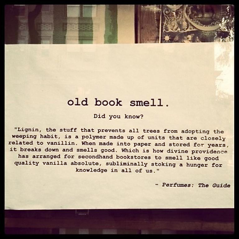 The reason why old books smell so good, from the book Perfumes: The Guide by  Luca Turin & Tania Sanchez