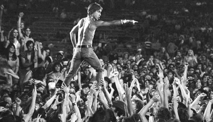 Iggy Pop crowd surfing like a boss at a concert in Cincinnati, 1970