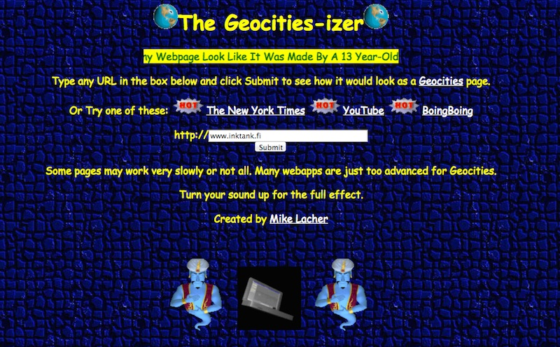 Geocities-izer website turns sites into 90s style sites.