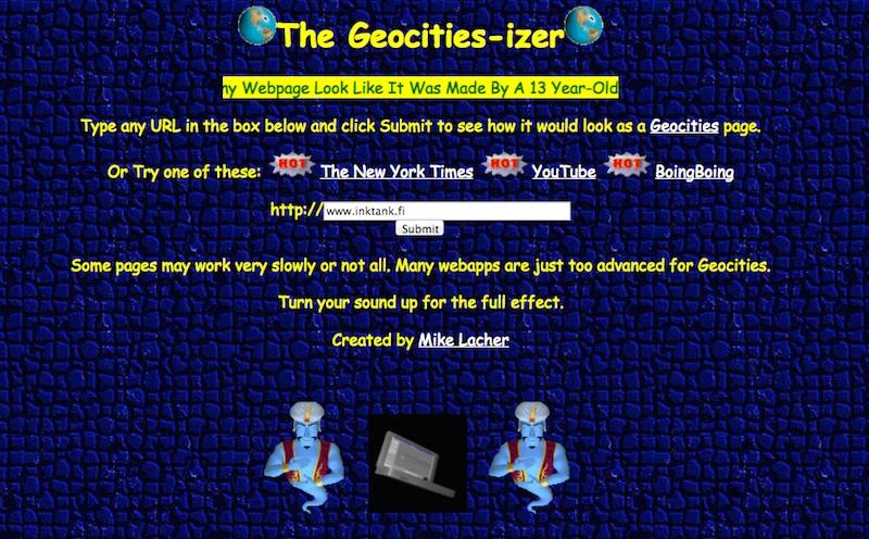 Geocities-izer website turns sites into 90s style sites.