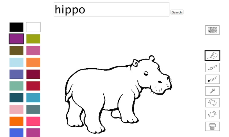 Hippo Paint, online coloring book
