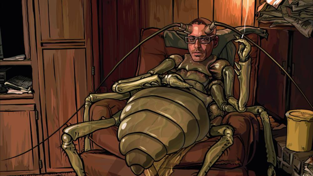 "Robert Downet Jr. as a druggy bug hallucination in ""A Scanner Darkly"""