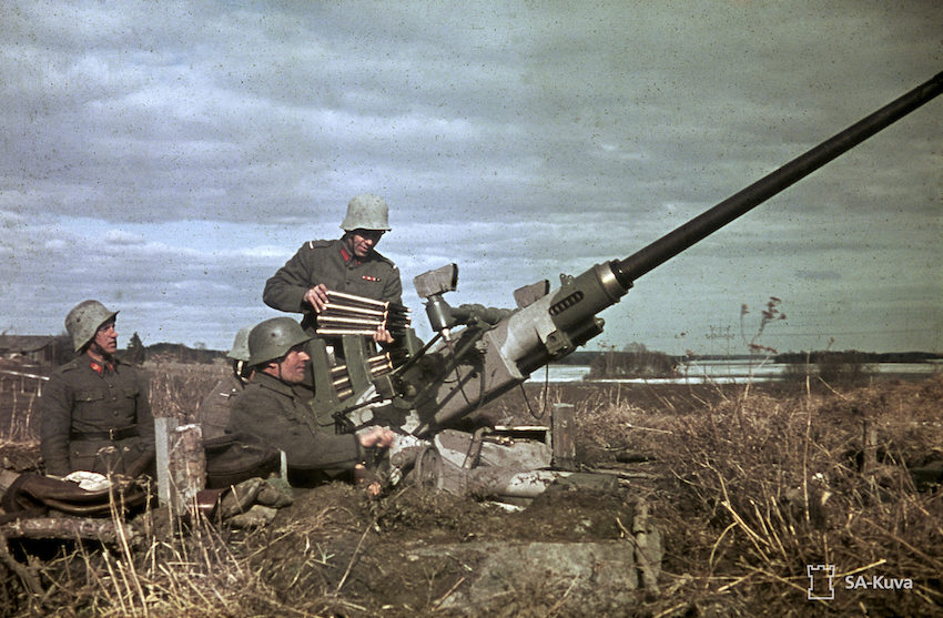 43rd light anti-aircraft divison. Gun (Bofors) in position near the township of Nokia. April 25, 1944.
