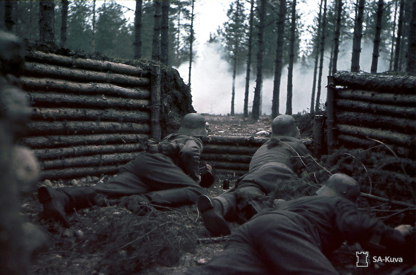 Finnish soldiers in a firing shelter during WW2. 1941.