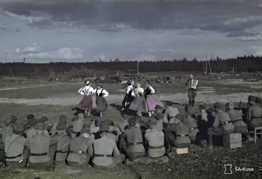The seminary entertain Finnish troops with dancing in May 1943.