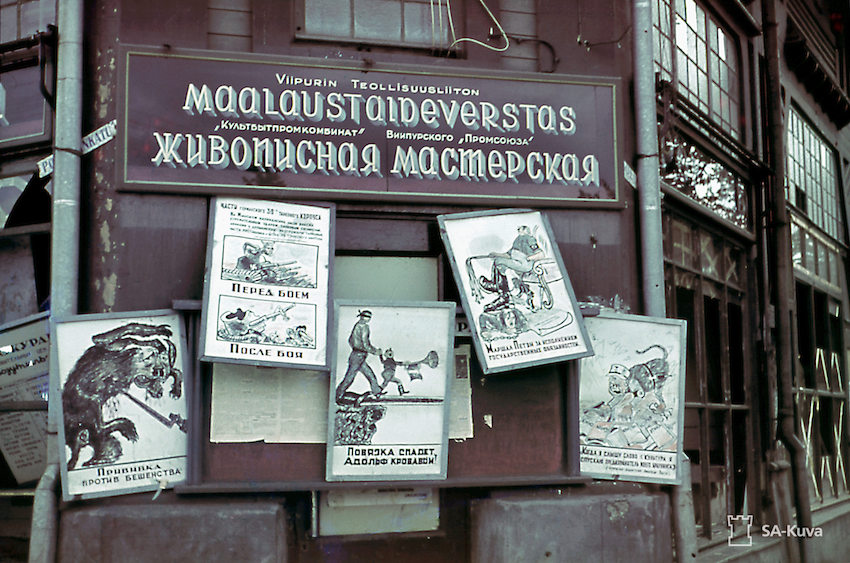 WW2 propaganda posters in Vyborg.