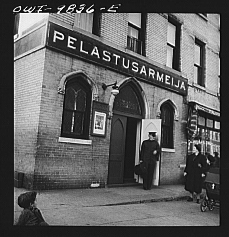 Finnish Salvation army in Finntown of Brooklyn, New York. October 1942.