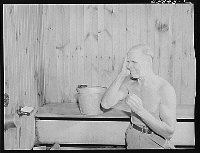 Finnish farmer taking Finnish steambath in Plainfield, Connecticut. August 1942.