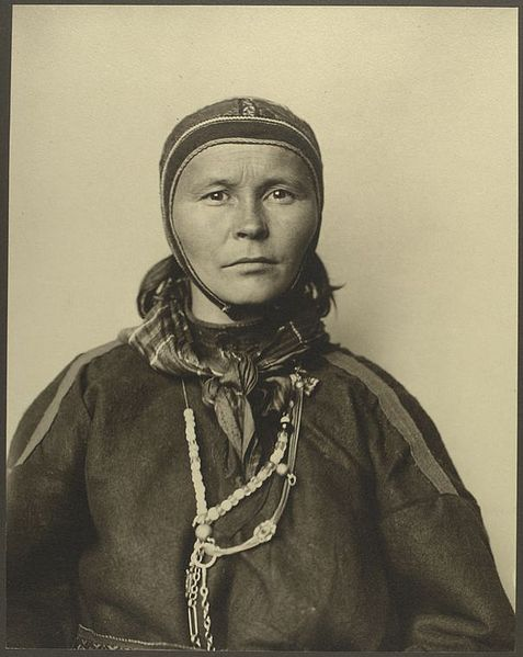 Photo taken of a Sami woman from Finland at Ellis Island, 1905.