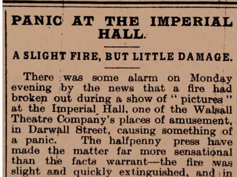 Newspaper notice about movie theater fire, Walshall Theatre, 1909.