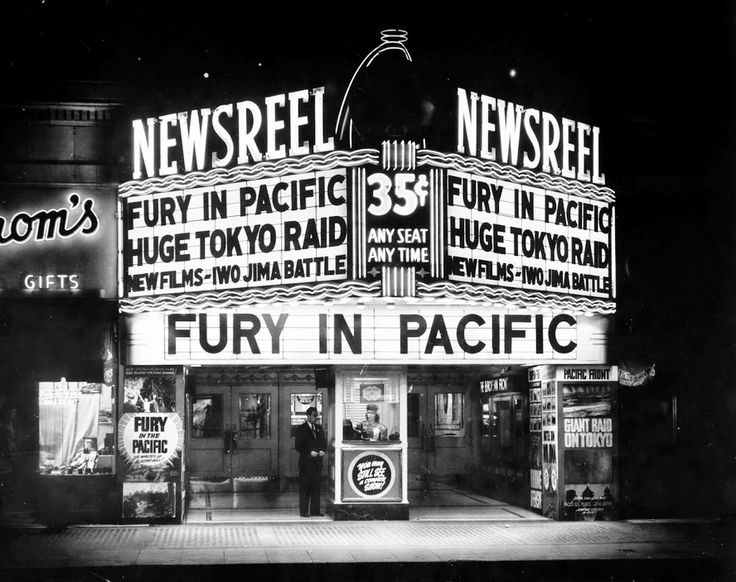 Newsreel movie theater in 1945 Los Angeles