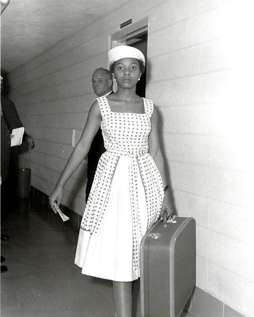 Annie Lumpkins at the Little Rock city jail. [1961]