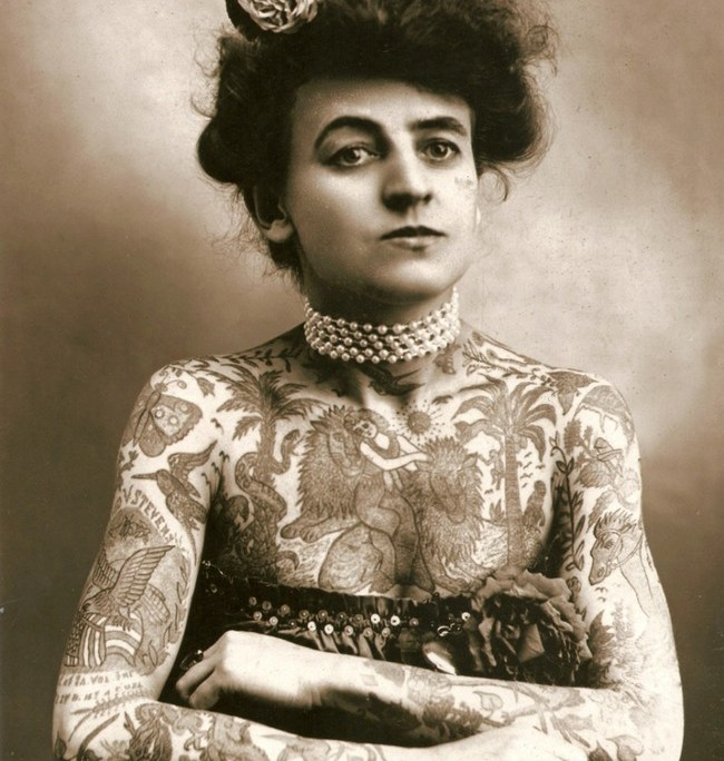 Maud Wagner, the first well known female tattoo artist in the United States. [1907]