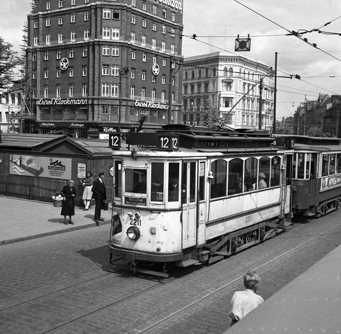 A tram in Hamburg, 1950's