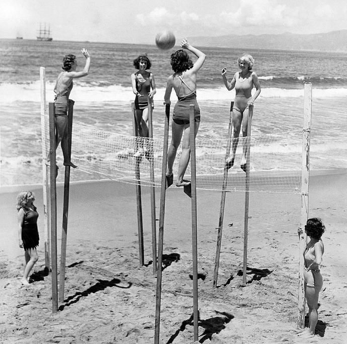 Women volleyball on stilts, Venice.