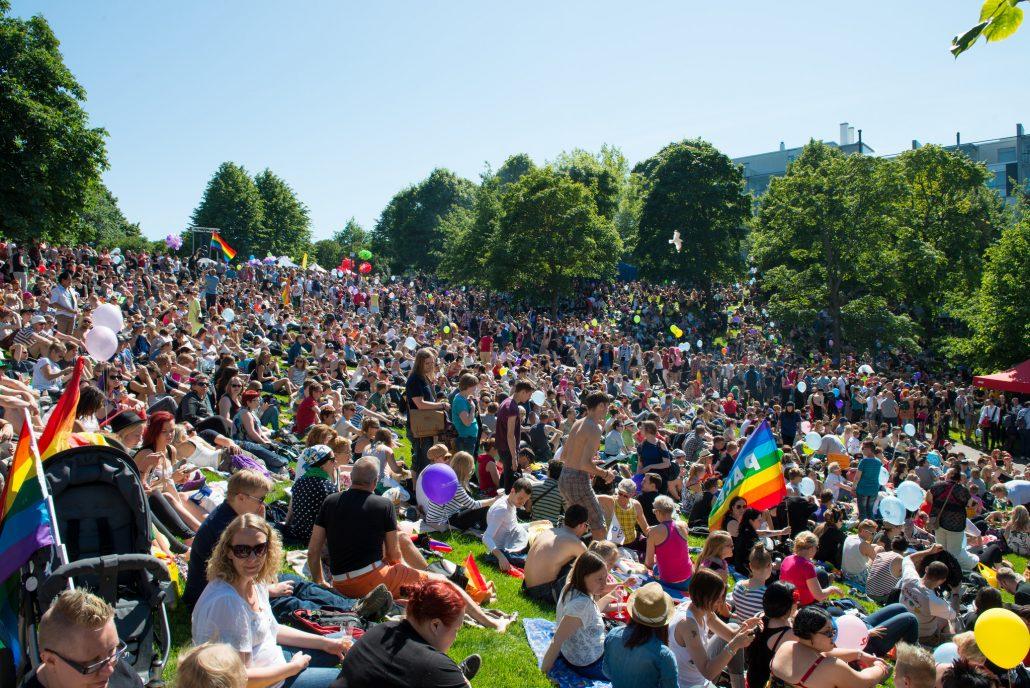 Helsinki Pride 2014 post-parade Park Fest in Sinebrychoff Park.