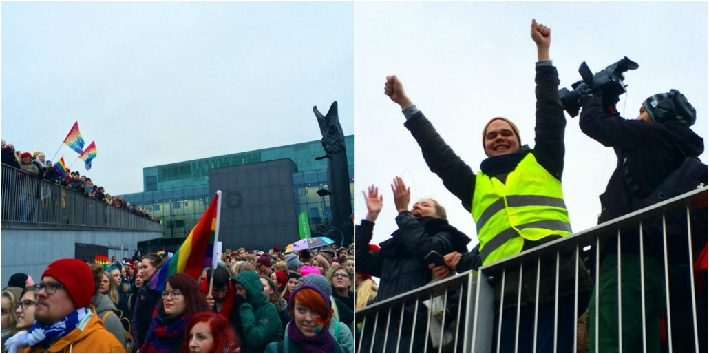 Demonstrators in Helsinki on Kansalaistori near the Parliamane on 28 November 2014, before and right after the passing vote of the Tahdon 2013 marriage equality bill, based on a citizen initiative.