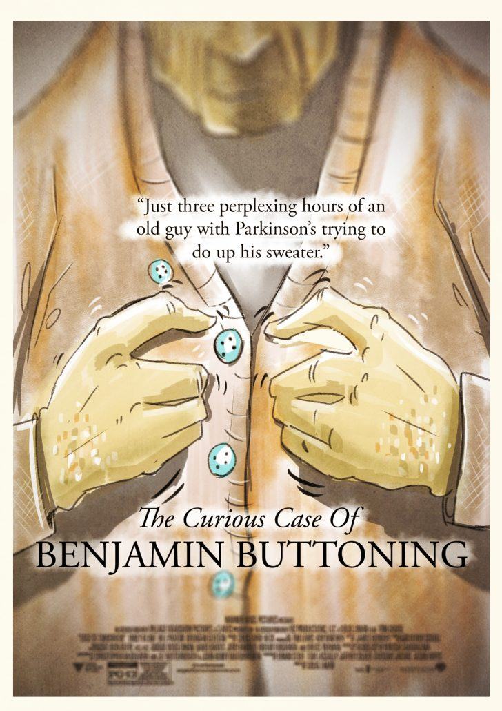 Benjamin Buttoning: just three perplexing hours of an old guy with Parkinson's trying to do up his sweater