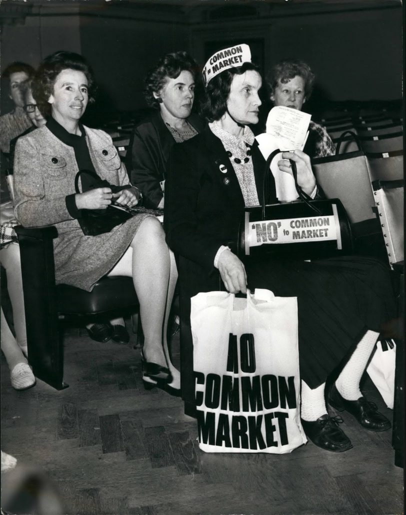Oct. 10, 1971 - ALL-WOMEN'S CONFERENCE ON THE COMMON MARKET: An All-Women's Conference on the Common Market, is being held today at Central Hall, Westminster. The conference is arranged by the London Europe Society in co-operation with the leading Women's Organization in Britain, all of which are represented by some of their principal officers. Keystone Photo Shows:- Mrs. Barbara Fellows, of South Kensington, shows her disapproval of joining the Common Market with stickers on her handbag and on her hat. (Credit Image: © Keystone Pictures USA/ZUMAPRESS.com) (Newscom TagID: zumaglobalfour179306.jpg) [Photo via Newscom]