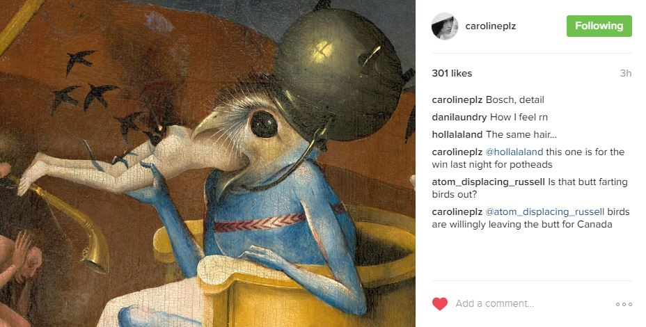 Caroline Polachek of Chairlift comments on Trump presidency with detail from Bosch painting