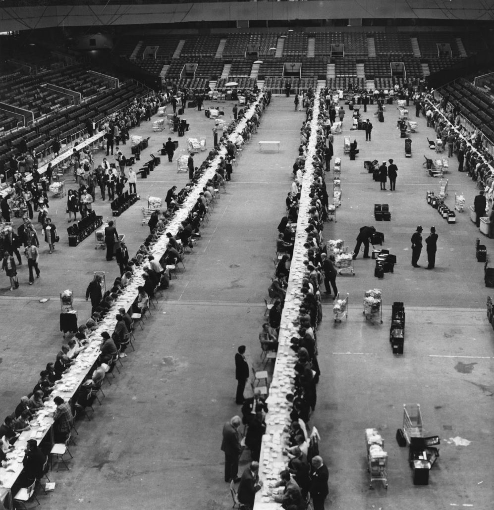 6th June 1975: Votes in the Common Market Referendum being counted at Earl's Court Exhibition Centre, London.