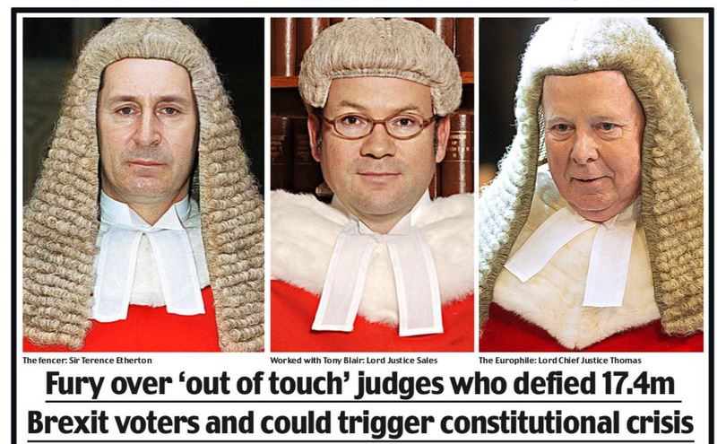 "A daily mail front page from November 2016, labeling judges ""the enemies of the people"""