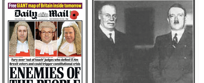 Anger directed at judges from pro-Hitler rag The Daily Mail