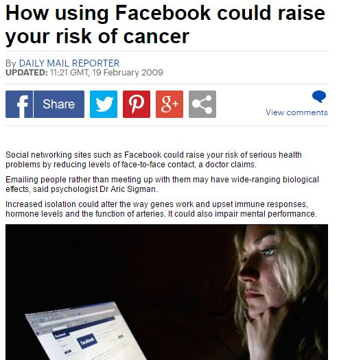The Daily Mail: Facebook causing cancer