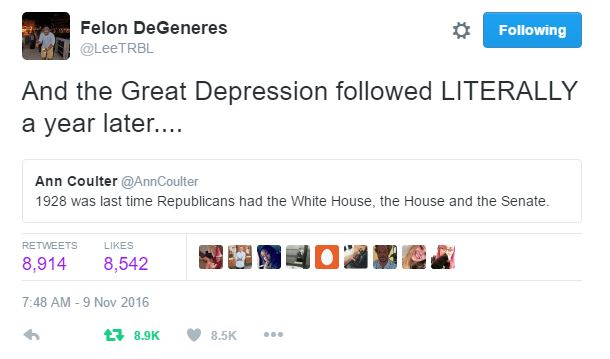 1928 was last time Republicans had the White House, the House and the Senate. And the Great Depression followed LITERALLY a year later....