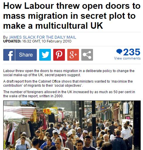 The Daily Mail uncovers Labour Party's secret Multiculturalism plot