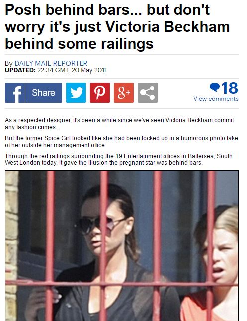 Post Behind Bars: pregnant Victoria Beckham