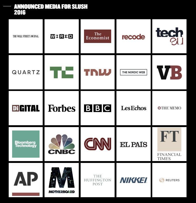 Numerous major, international outlets attending Slush 2016