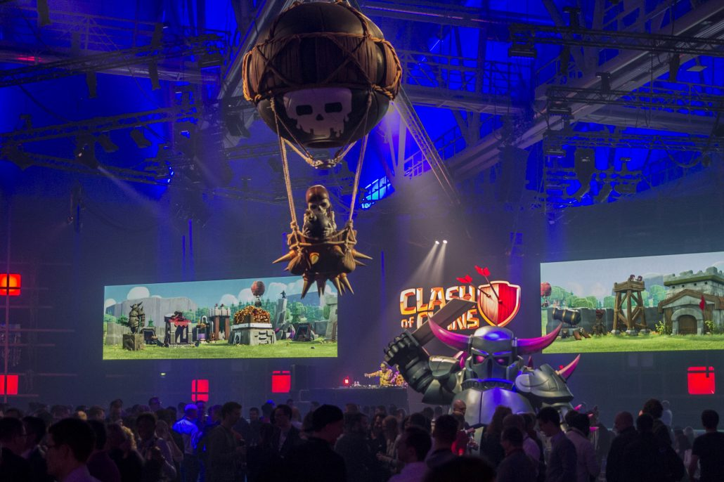 Supercell at Slush with big Clash of Clans models