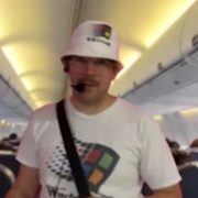 Teemu Keisteri as Windows95man DJ on a plane, where he played Darude's Sandstorm