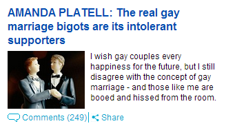 AMANDA PLATELL: The real gay marriage bigots are its intolerant supporters