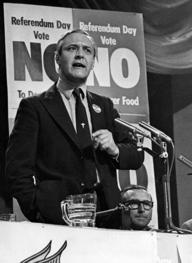 Anti-Europe MP Tony Benn speaking at Get Britain Out rally, Sophia Gardens Pavilion, Cardiff, June 3, 1975.