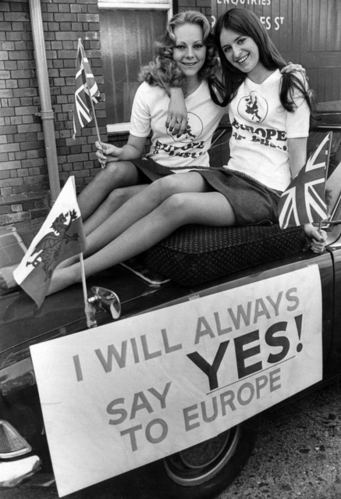 Colleen Terrans 18 and Dawn Miller 21 riding on the bonnet of the leading car of the South Glamorgan campaign to Keep Britain in Europe.