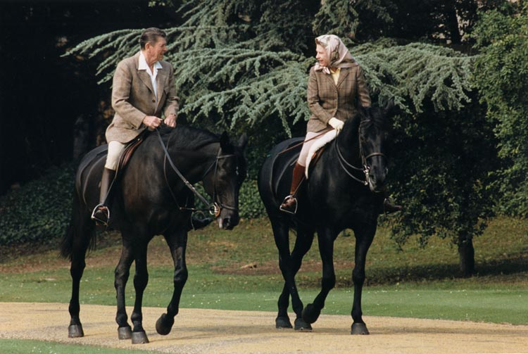 President Reagan and Queen Elisabeth II riding horses in 1982