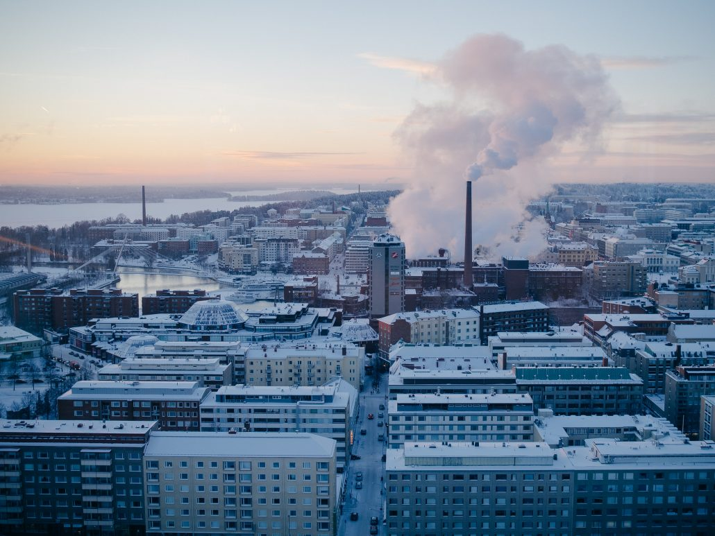 Wintery cityscape of Tampere, Finland