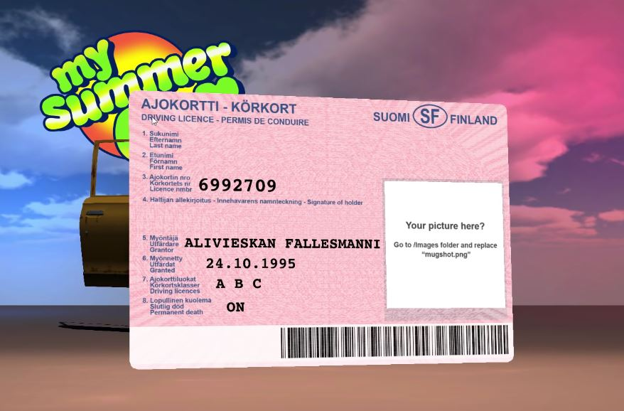 Finnish diver's license in My Summer Car