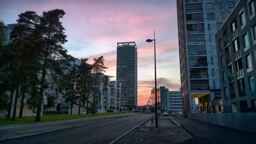 Summer evening view of Kahvikatu, a quiet street in Aurinkolahti, part of the mid-rise apartment dominated Vuosaari suburb in eastern Helsinki.