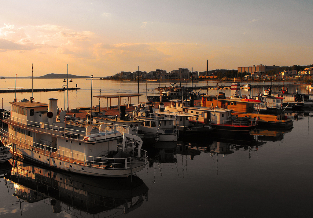 Sunset view of a harbor in Lahti, Finland.