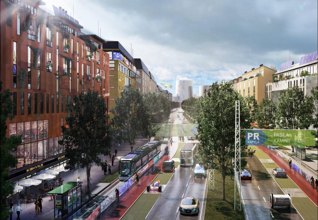 Rendering of Helsinki's planned city boulevards to be built along current highways