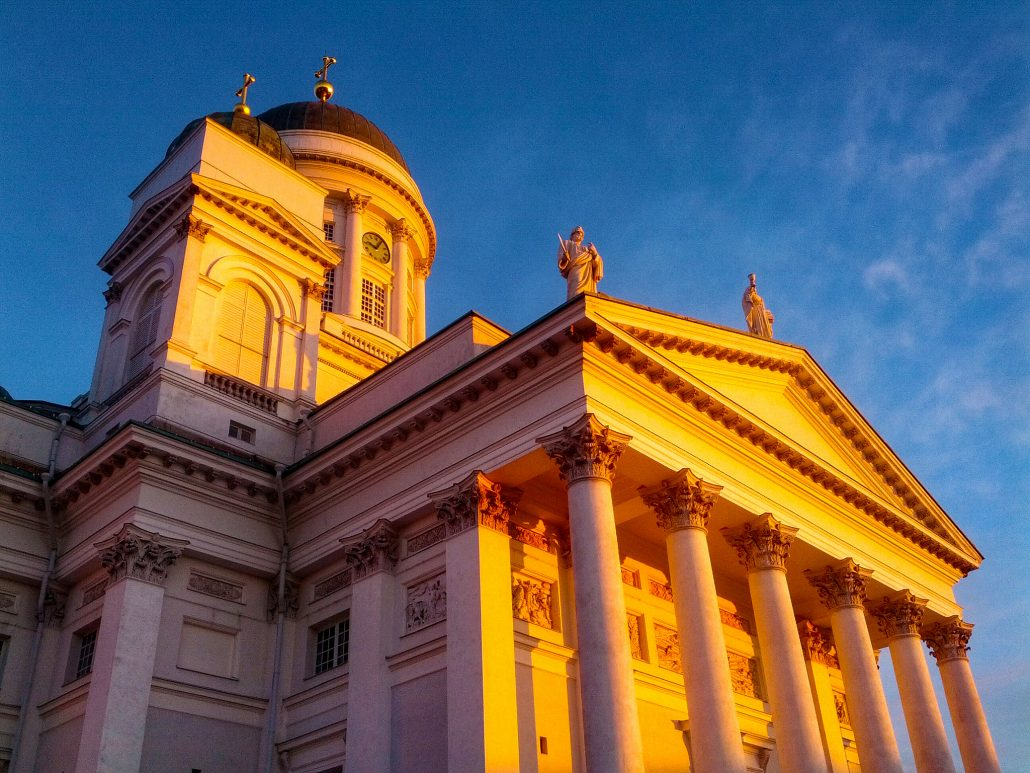 Sunrise hitting the Helsinki Cathedral, located at the Senate Square