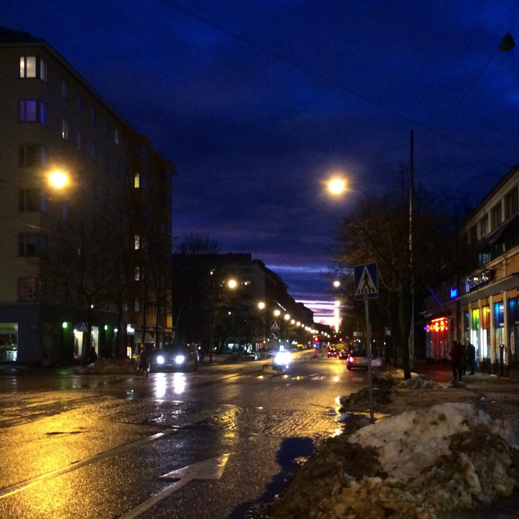 Rainy December view from Piritori to Helsinginkatu, Helsinki