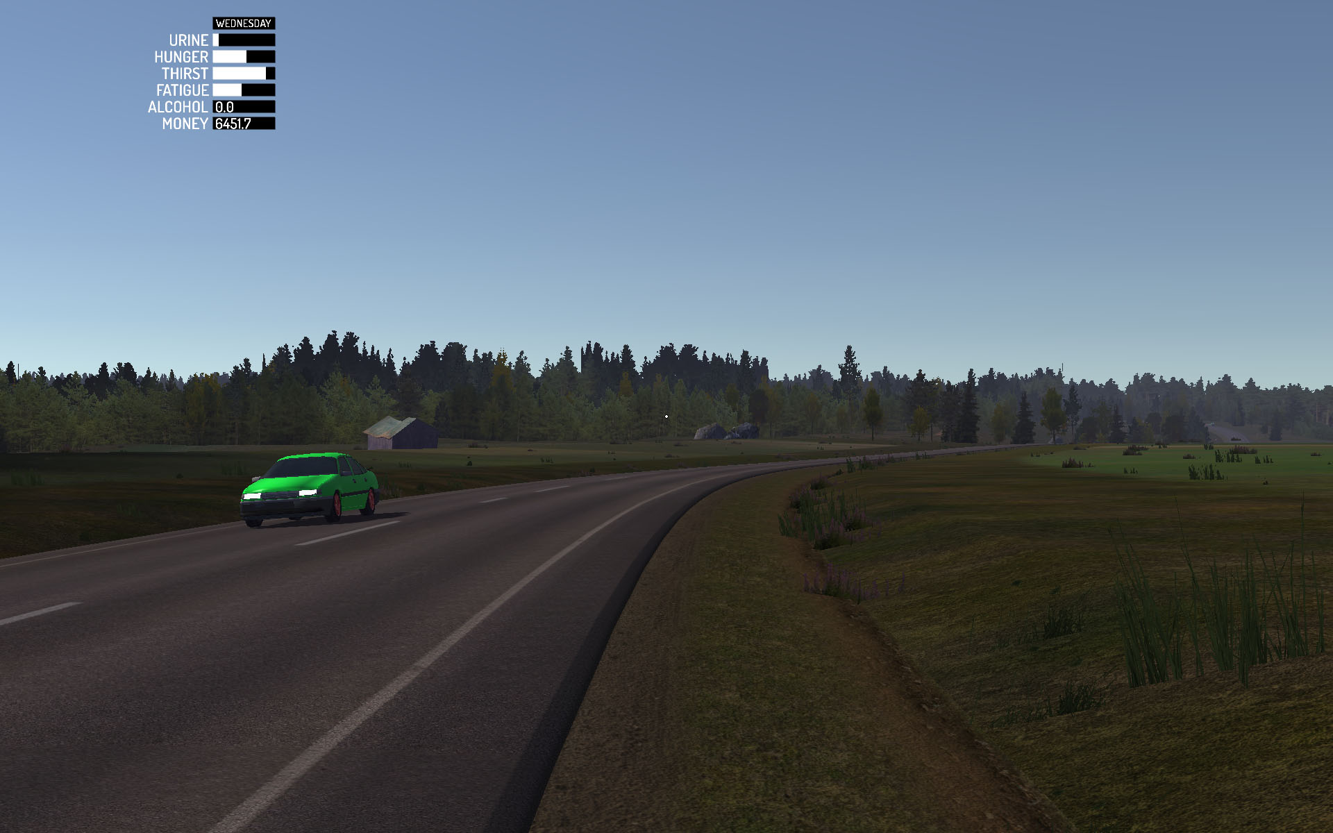 NPC vehicle in the gorgeous countryside landscape of My Summer Car