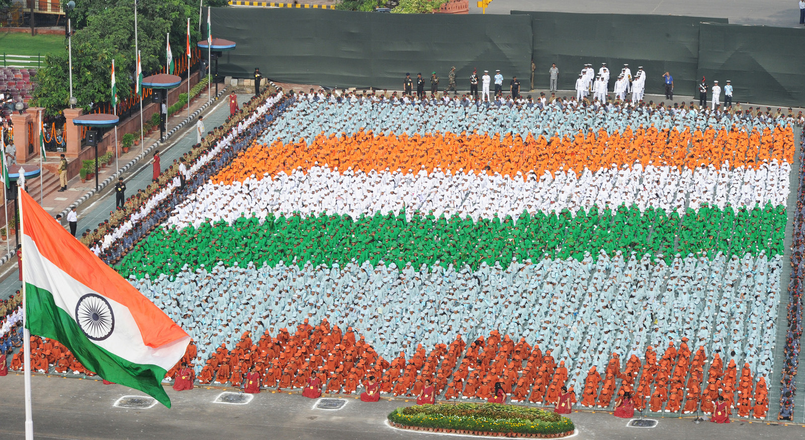 Formation of Tricolour by the school children at Historic Red Fort, Delhi on August 15, 2010.