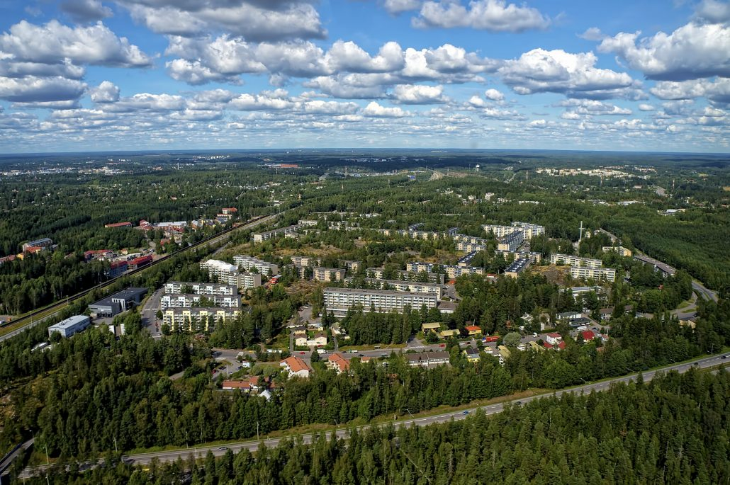 Summery aerial view of Jakomäki, a Helsinki suburb some 15 kilometers northeast from the city center.