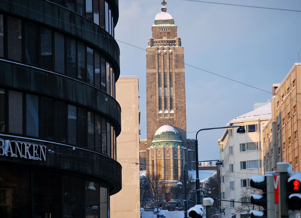 The Kallio church in Helsinki seen from Ympyrätalo, Hakaniemi.