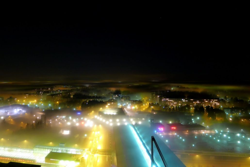 Misty November cityscape shot from the Cirrus tower in Vuosaari, Helsinki